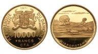Дагомея 10000 франков 1971. PROOF. Au 0.900. 35.55г. 1.0286 oz. Тираж 470 шт. Крайне редкие!