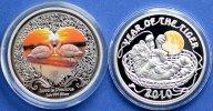 2 монеты!1 доллар 2009 год -Год Тигра и 2 доллара 2011 год - Любовь драгоценна. Серебро в цвете.Ниуэ
