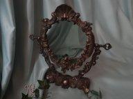 Антикварное настольное зеркало. Бронза. Европа.
