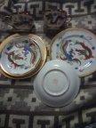 2 чайные тройки (чашки, 2 блюдца, 2 десертных.тарелки) Китай фарфор клеймо редкость золочение дракон