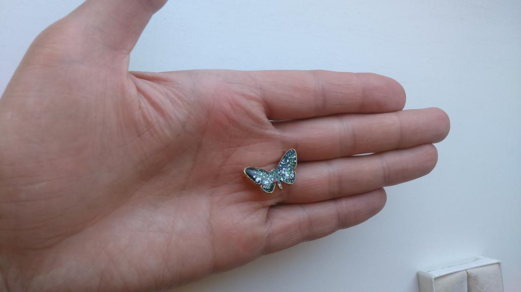 2047/7 маленькая брошь Бабочка эмаль золочение бижутерия винтаж США