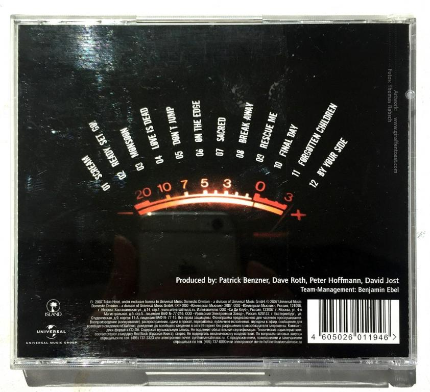 "CD. Tokio Hotel ""Scream"". лицензия 2007 Universal. Obi."