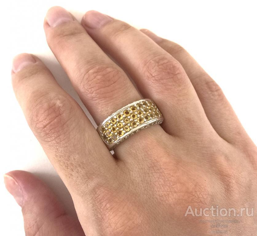 Серебряное Кольцо Женское С Натуральным Желтым Цитрином и Белым Топазом Сбоку. Большой Размер!
