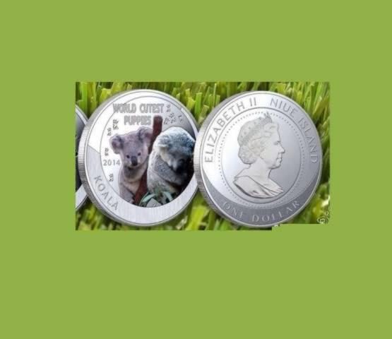 1 доллар Ниуэ 2014 года медвежата Коала, копия