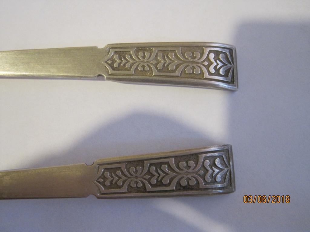 2 чайные ложечки серебро с позолотой 916 пр. со звездой