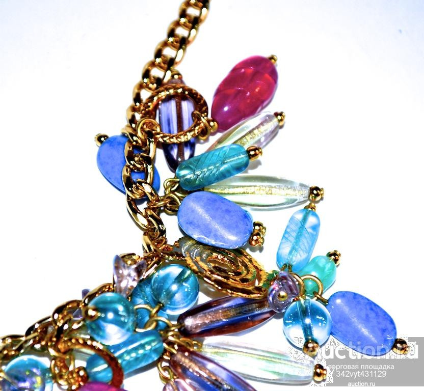 Колье ожерелье ЛЕТНИЙ ВОСТОРГ Богемское стекло Чехословакия