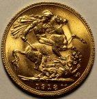 1 соверен 1918 год. Георг V. Золото 0.917 проба 8 Грамм. Отличная сохранность. Редкость!
