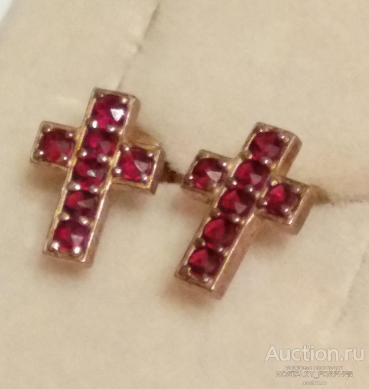 Серьги крестики чешские богемские гранаты серебро покрытие золото