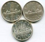 3 монеты! 1 доллар 1936, 1953 и 1965 год. Канада. Серебро!
