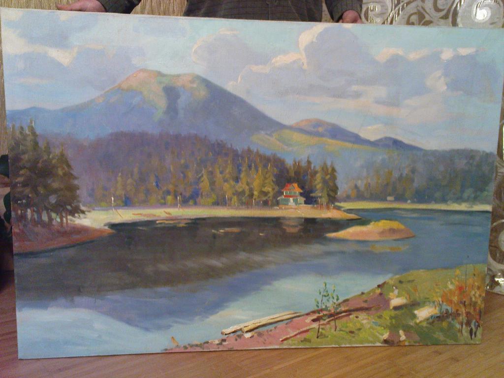 картина пейзаж горы Якубек 1961 г. холст масло размер без рамы 90 х 130 см №186