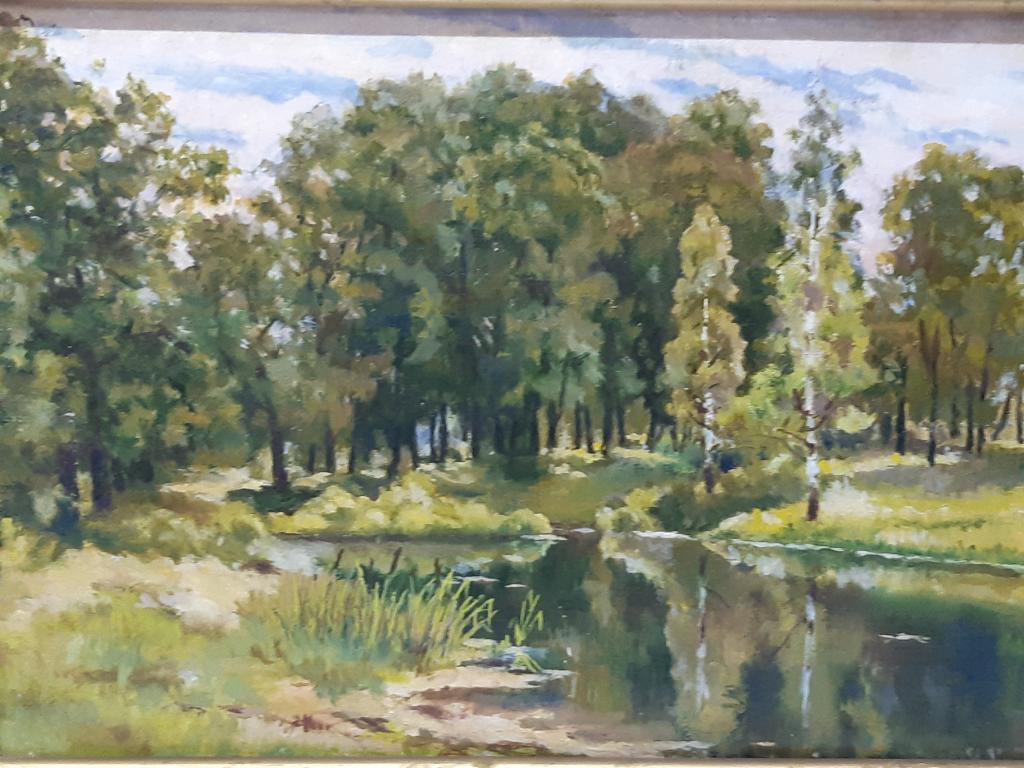 Картина маслом холст Опушка Леса Река.  худ ; Б.Д. в раме размер холста 60х42,5  Оригинал С Рубля