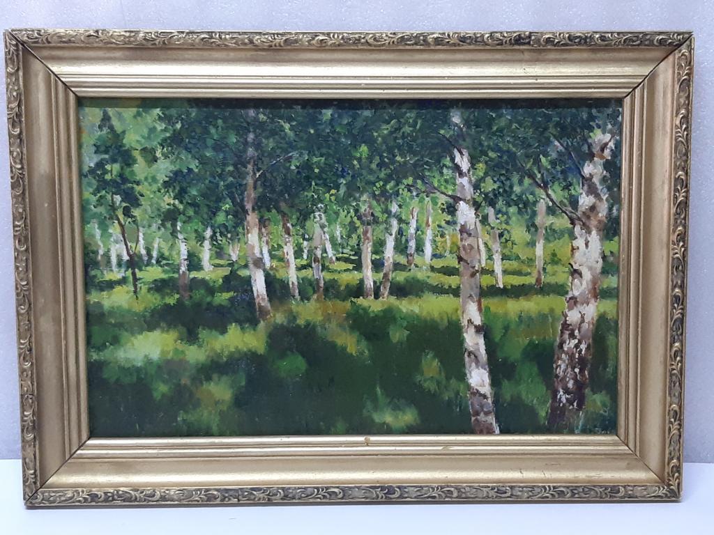 Картина маслом холст Берёзовая Роща  худ ; Б.Д. в раме размер холста 60х42,5  Оригинал С Рубля