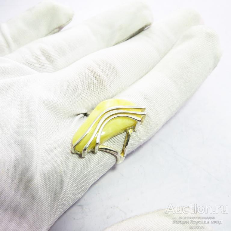 Кольцо Посеребряние Янтарь молочный, Калининград, комплект, перстень 328 Новое! Р19