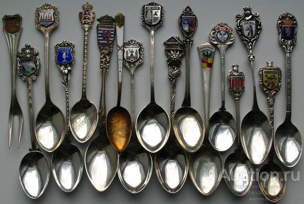 ложка с гербом города ,живописная эмаль, серебро 800,830,835,925 проба цена указана за 1ложку