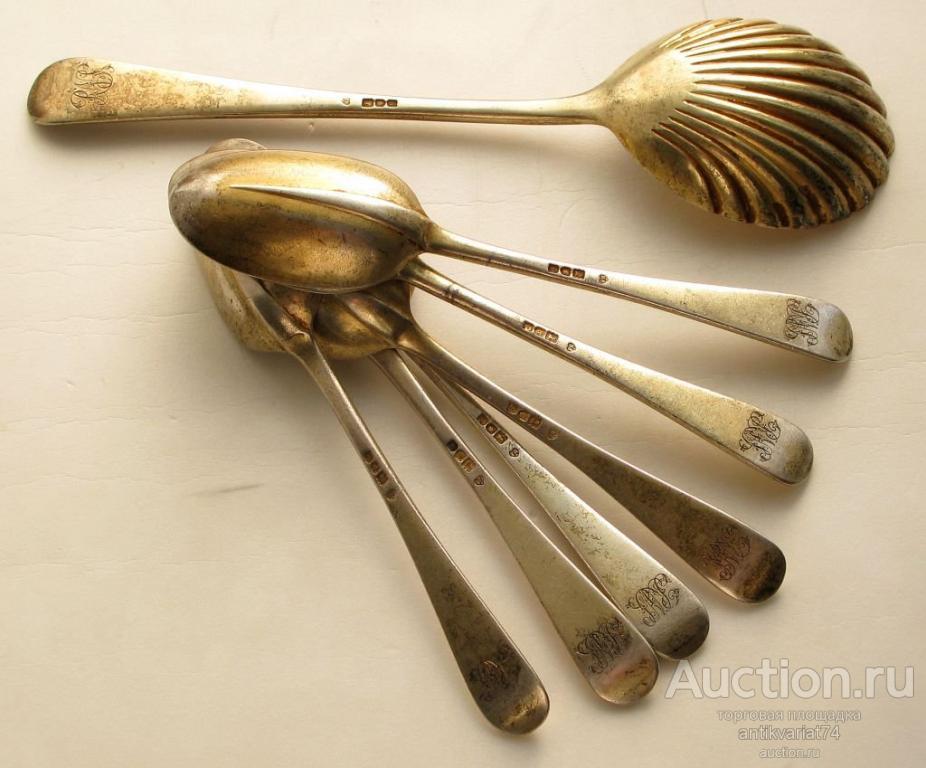 набор ложек серебро позолота 925 проба Англия Лондон 1901год 413грамм