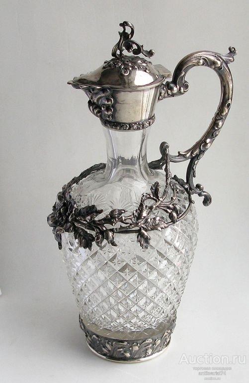Кувшин хрусталь серебро 800проба Германия начало 20 века высота 270мм диаметр 90мм