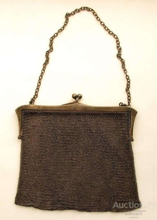 Дамский кошелек — сумочка, серебро 925 пробы, длина 160 мм, вес 202 гр., Англия, Лондон,1918 год