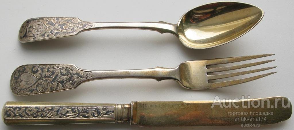 десертный набор: ложка, вилка, нож, серебро 84проба, позолота, чернь, 1853,1854г, Россия, Москва 186