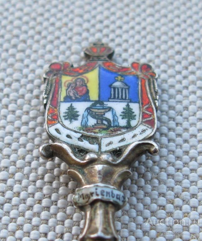 Ложечка с живописной эмалью, серебро 800 пробы, Германия, начало ХХ в, MARIENBAD