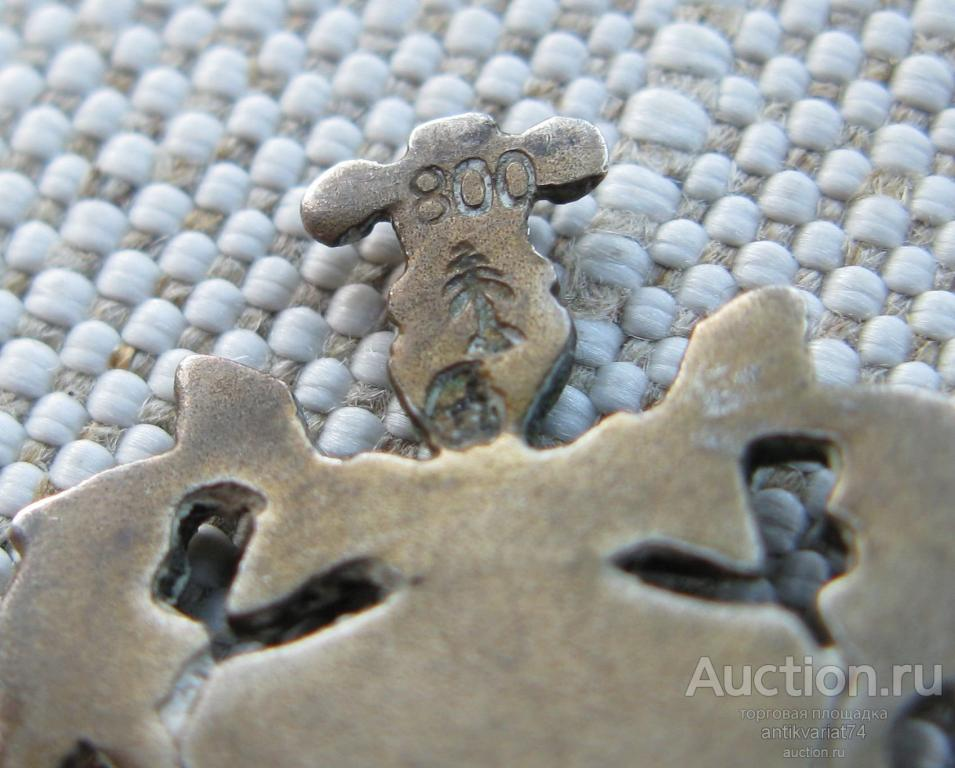 Ложечка с живописной эмалью, серебро 800 пробы, Германия, начало ХХ в, длина  130 мм, вес 14.5 гр. W