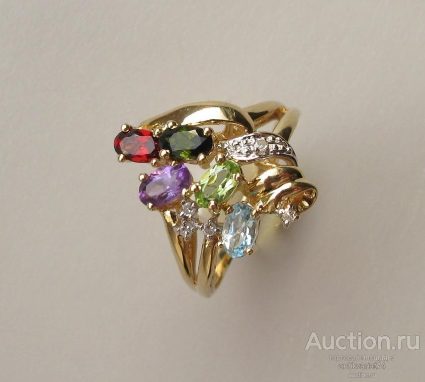 Винтажное кольцо , золото 585 проба 4.5 грамма , турмалин ( верделит ) 0.24 карата, гранат 0.3 карат