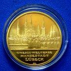 100 Евро 2007 ЮНЕСКО Город Любек  Германия. Всемирное наследие Юнеско.  Золото!