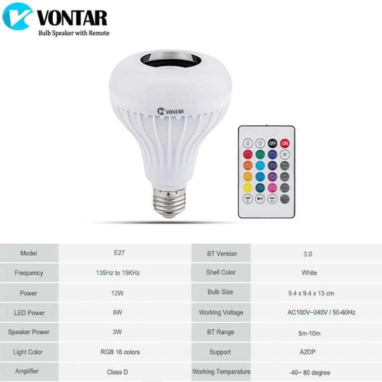 Умная Bluetooth Лампочка RGB со Встроенным Динамиком и Пультом ДУ Е27.