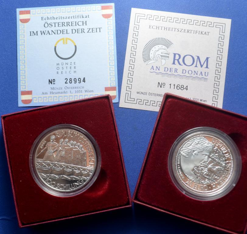 2 монеты! 100 шиллингов 2000 года и 5 евро 2010 года. Серебро! Австрия!