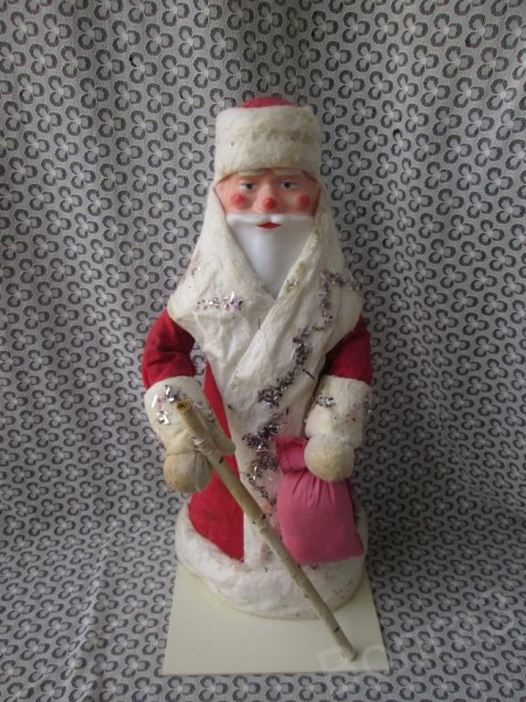 Кукла игрушка Дед Мороз пластмасса картон вата винтаж СССР