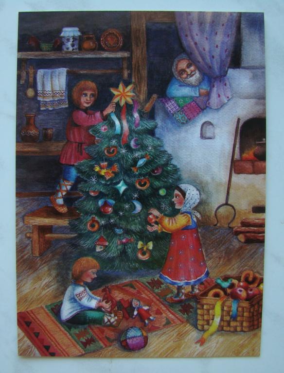 Оленями интерактивная, дети наряжают елку открытка