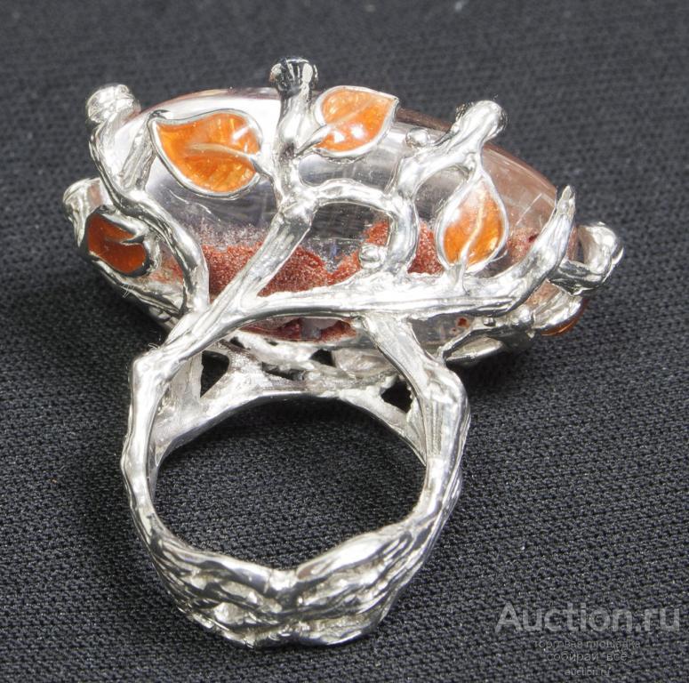 Кольцо  Родий, кварц, эмаль, серебро 925 пр, позолота, р-р 18,5 авторская работа
