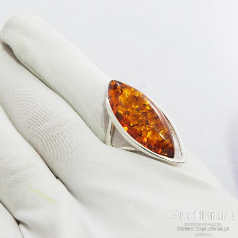 Кольцо Большое Посеребряние Янтарь комплект натуральный Калининград перстень Р19.5 Новый 518