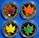 4 монеты: 5 долларов 2007 Кленовый лист. Канада. Цветные, Серебро.