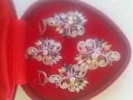 Прелестный Серебряный комплект 925-й пробы.Серьги,кольцо и кулон.27,5 гр.