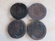 4 пятака Елизаветы Петровны 1759 ММ, 1759, 1760, 1761