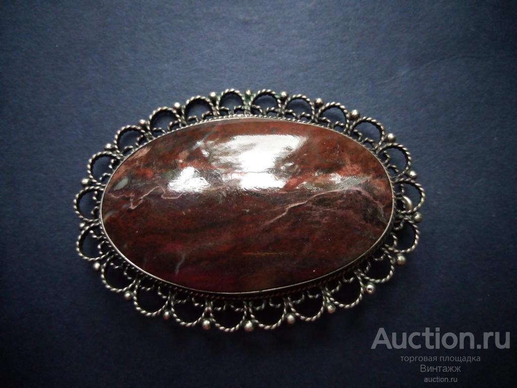 Брошь Скань натуральный камень