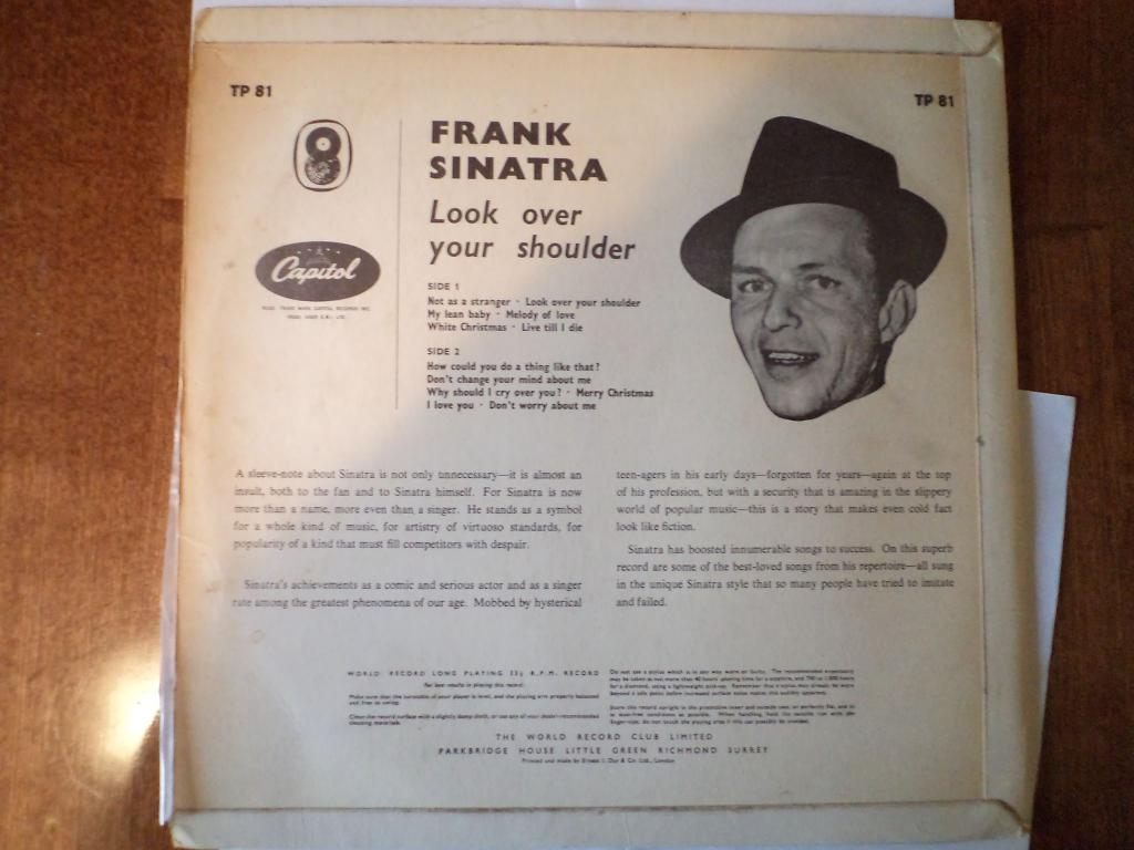 Frank Sinatra ‎– Look Over Your Shoulder - оценка по звуку EX+