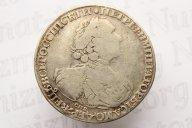 """1 рубль 1724 г. R, солнечный в латах, """"СПБ"""" под портретом"""