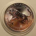 5 долларов 2016 год. Тигр. Канада. Серебро!