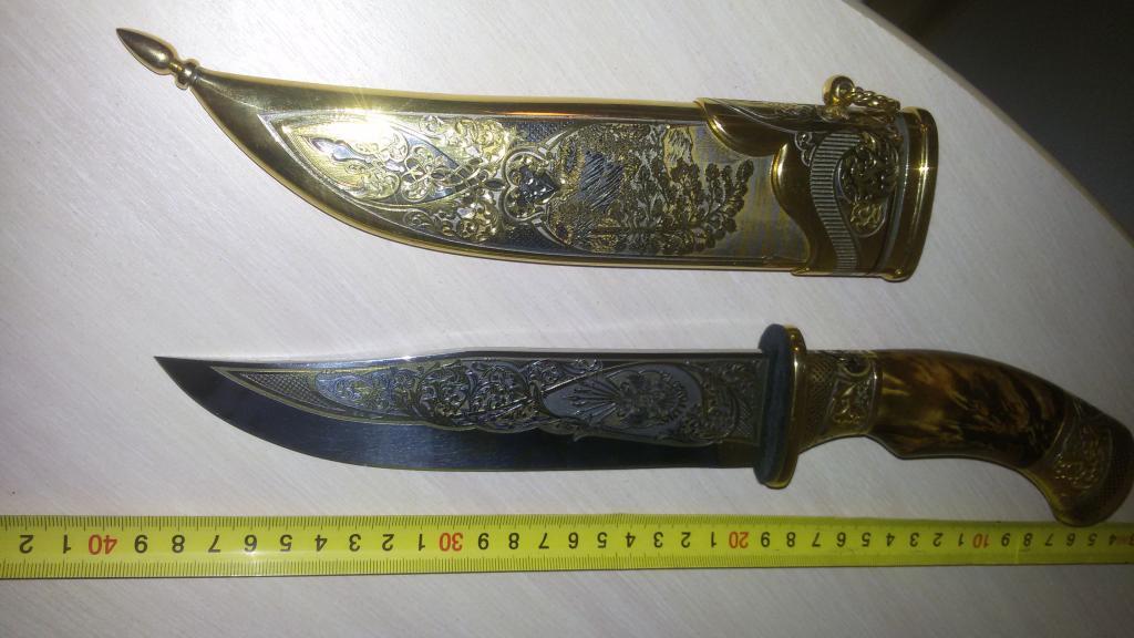 Нож Златоуст,золочение,чернение