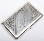 Серебряный портсигар 84 пр., позолота, конец 19 века. Прекрасный предмет!