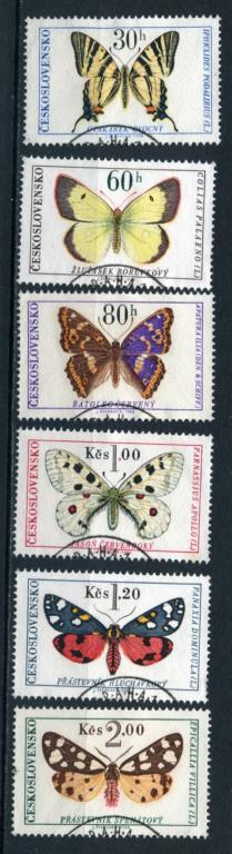 Чехословакия. Бабочки. Серия 6 марок. 1966.