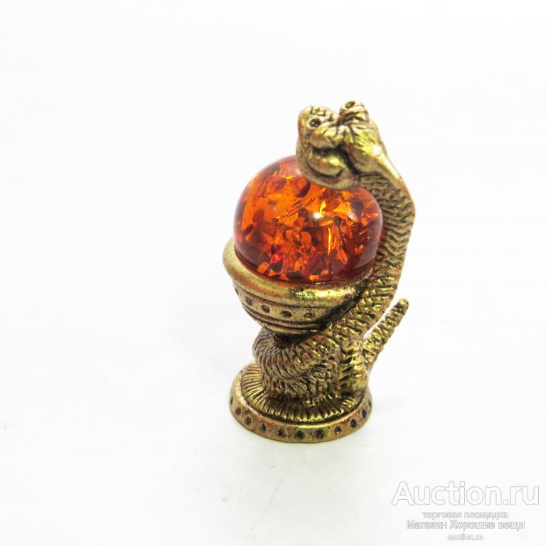 """Настольная миниатюрная фигурка """"Улыбающаяся змейка""""Янтарь бронза латунь Чаша со змеем 623"""
