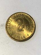 2 франка 1944 года Франция Окупация Состояние отличное!!! Горящая!!!