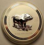 8 долларов 2007 год. Год Свиньи 2007 год. Серия ЛУНАР. Австралия. Серебро 999 - 155.5 грамм (5 oz).