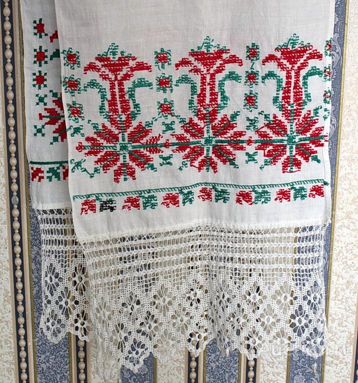 Рушник полотенце с вышивкой кружева L-2,75 см