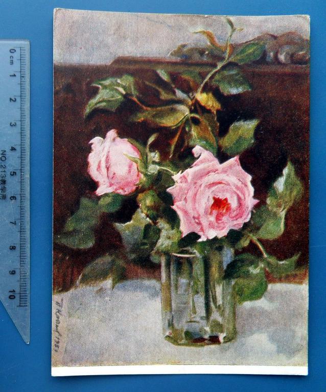 Крылов РОЗЫ В СТАКАНЕ 1956 СХ цветы Q10 (1.8) живопись. чистая РЕДКАЯ!!!