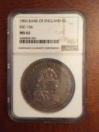 Великобритания Георг III 1 доллар ( 5 шиллингов) 1804 г в слабе NGC MS62 RRR!!!