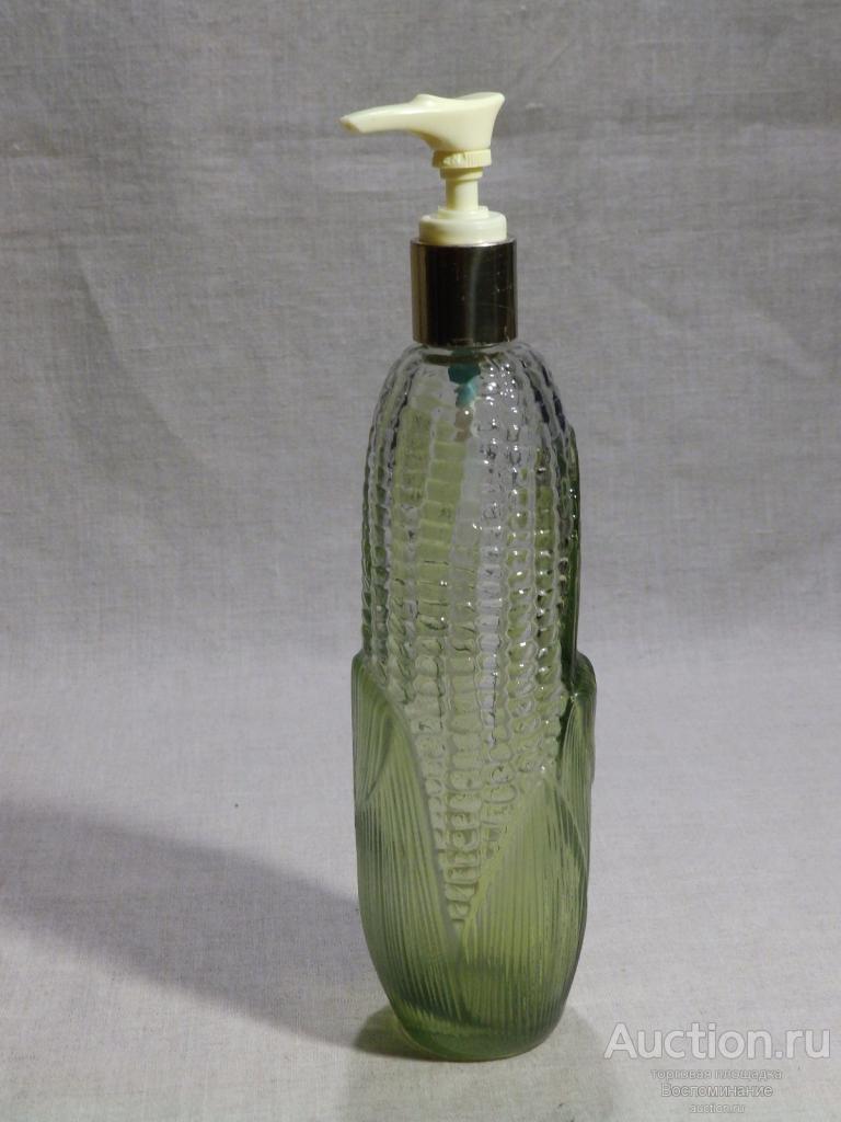 ►Старинная бутылка Флакон «КУКУРУЗА» 1960-е гг. Винтажный Коллекционный дозатор Avon, Цветное стекло