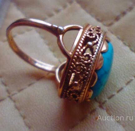 КОЛЬЦО-ПЕРСТЕНЬ серебро 925 пр с бирюзой Россия позолота размер кольца 17,5